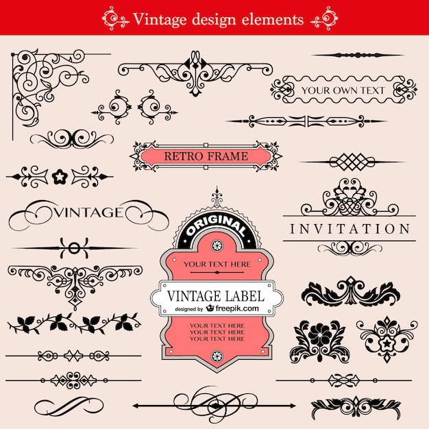 Retro frames and page dividers Free Vector