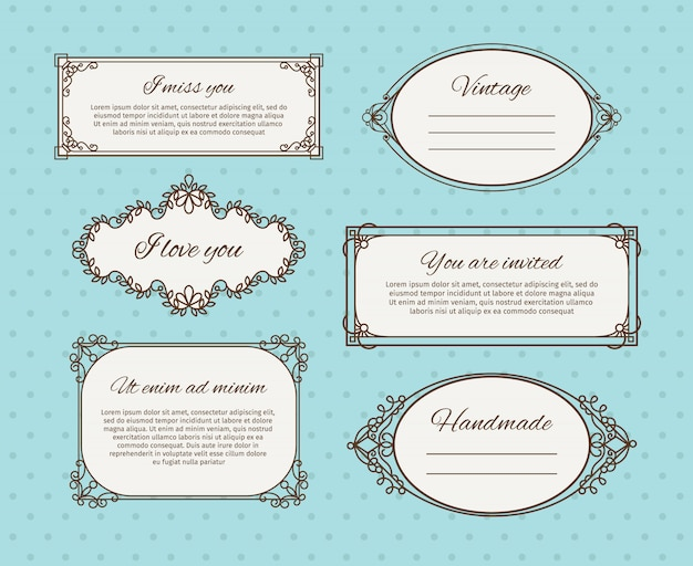 Retro frames or vintage frames with text Premium Vector