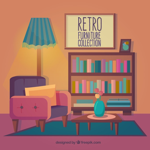 Retro furniture collection in colored style Vector Free Download