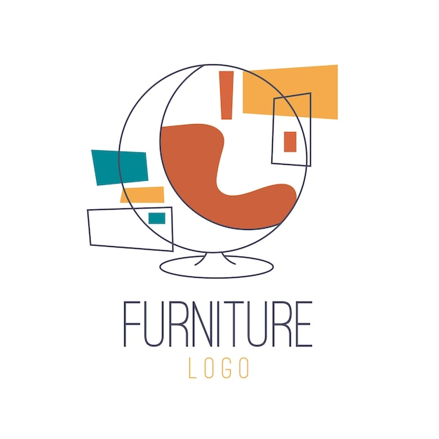 Ретро мебель логотип Premium векторы
