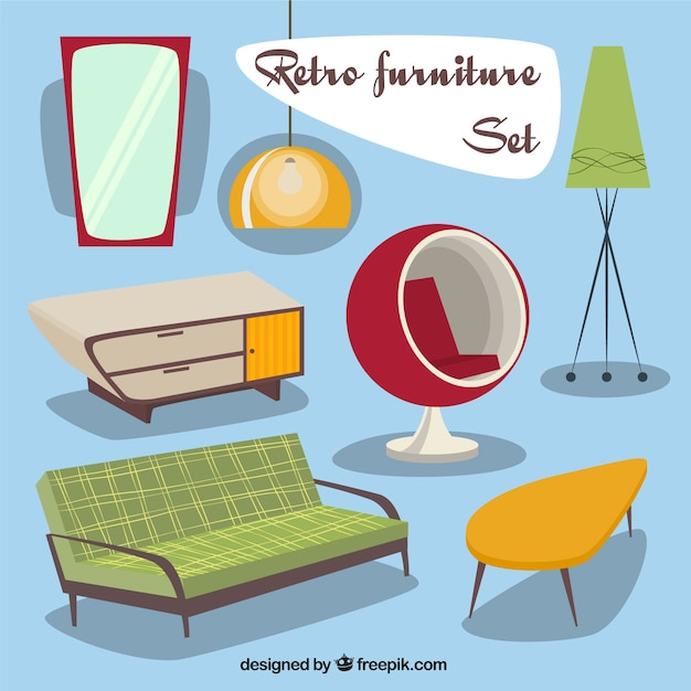 Retro furniture set Free Vector
