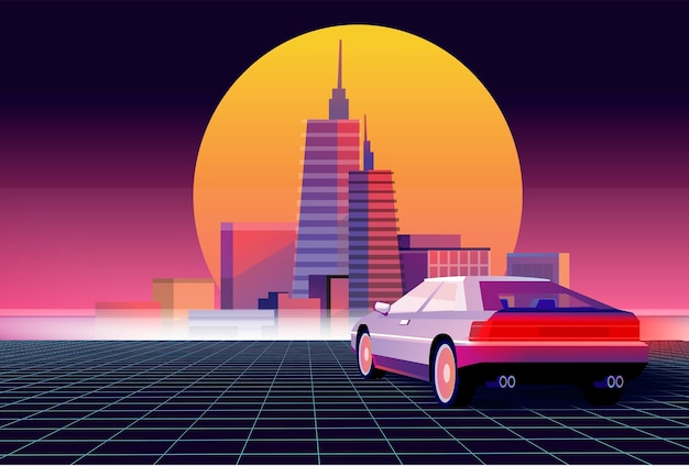 Ретро будущее. научно-фантастический фон с суперкаром. футуристический ретро-автомобиль. Premium векторы