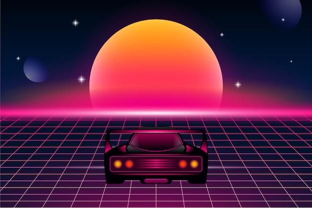 Ретро футуризм фон со спортивным автомобилем и солнцем Premium векторы