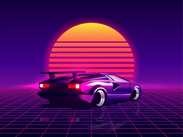 Retro Futuristic Back Side View 80s Supercar On Trendy Synthwave