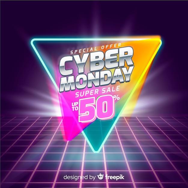 Retro futuristic cyber monday banner Free Vector