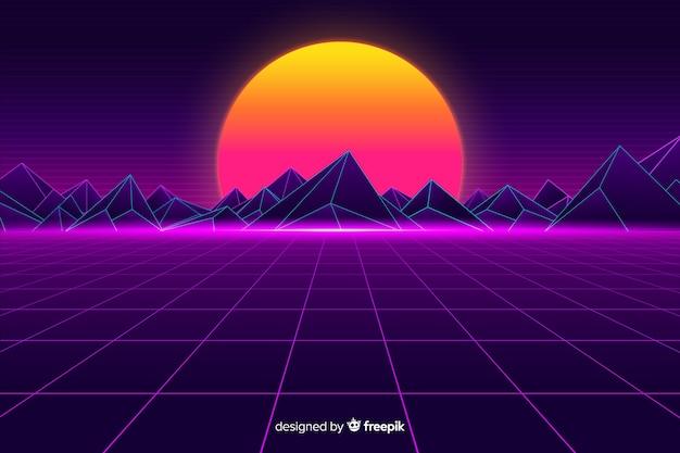 Retro futuristic landscape background with sun Free Vector