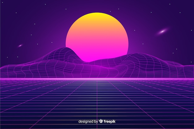 Retro futuristic landscape background with sun Free Vector