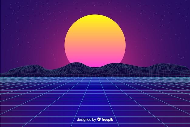 Ретро футуристический пейзаж фон с солнцем Бесплатные векторы