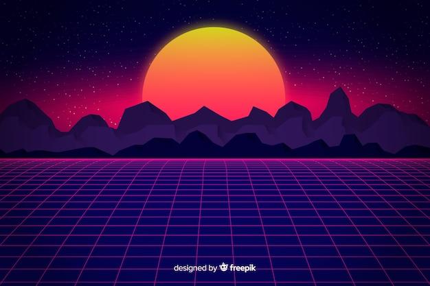 Retro futuristic landscape background Free Vector