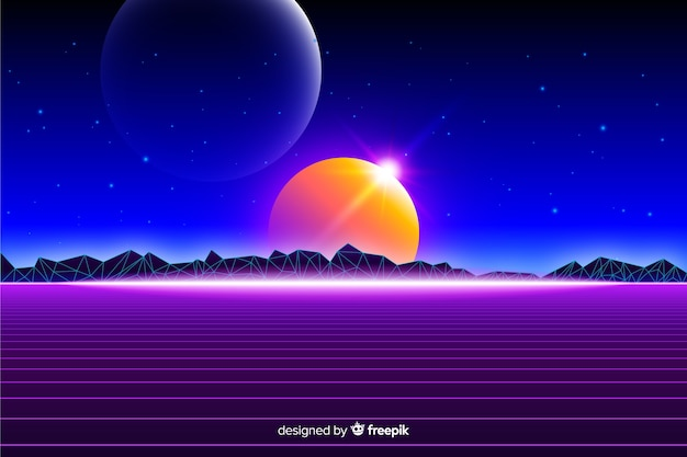 Retro futuristic landscape of universe background Free Vector