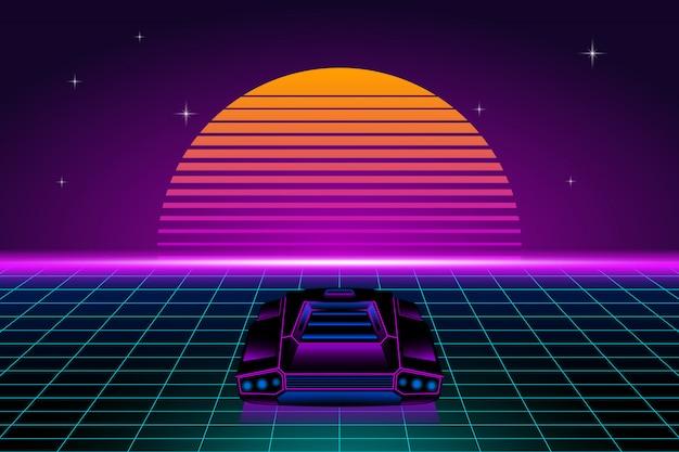 Ретро футуристический пейзаж с ретро-автомобилем и солнцем Premium векторы