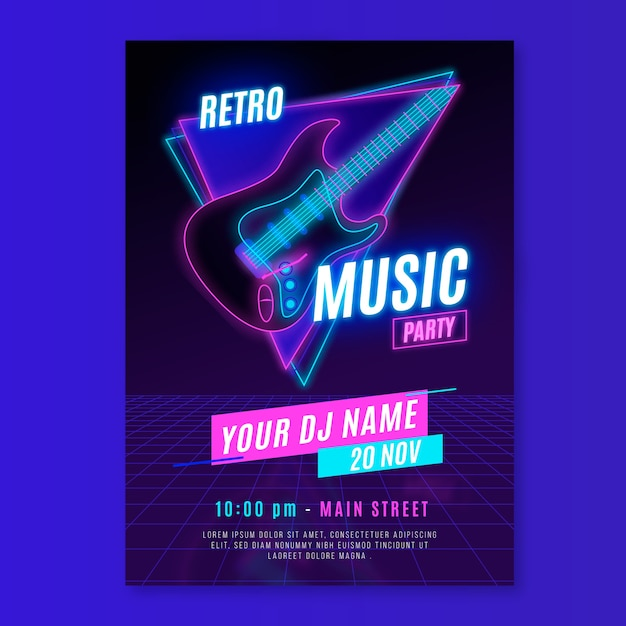 Retro futuristic music flyer template Free Vector
