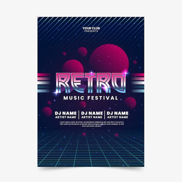 Retro futuristic music poster template Free Vector
