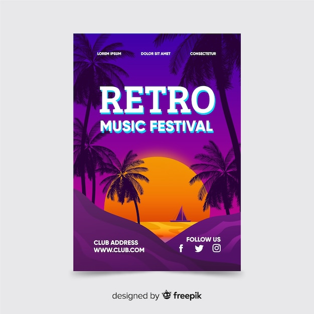 Retro futuristic music poster with sunset template Free Vector