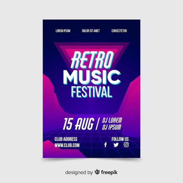 Retro futuristic music poster Free Vector