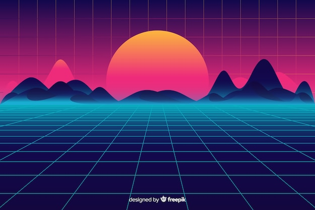 Retro futuristic sci-fi landscape background, purple color Free Vector