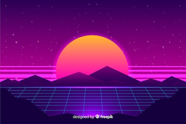 Retro futuristic sci-fi landscape background, purple color Free Vector