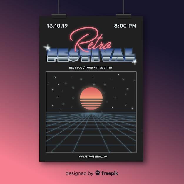 Retro futurstic music poster template Free Vector