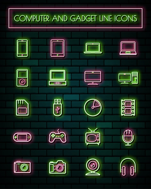 Retro gadget thin neon glowing line icons set. Premium Vector