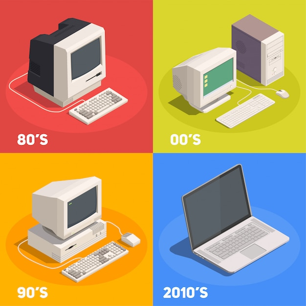 Retro gadgets 2x2 isometric design concept with computer evolution 3d isolated Free Vector