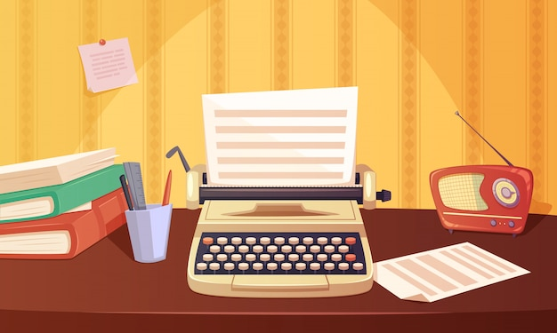 Retro gadgets cartoon background with typewriter radio books
