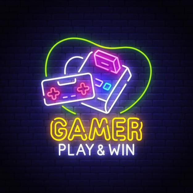Retro games neon sign Premium Vector