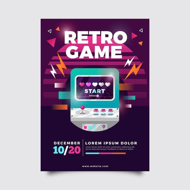 Иллюстрация ретро игровой плакат Бесплатные векторы