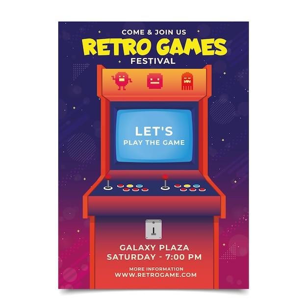 Шаблон ретро игрового плаката Бесплатные векторы