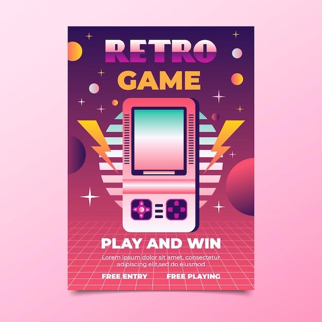 Modello di poster di gioco retrò Vettore gratuito