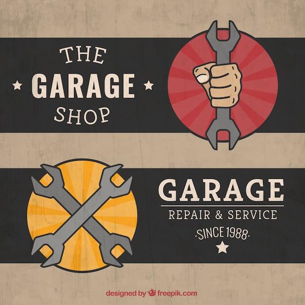 Retro Garage Labels Vector