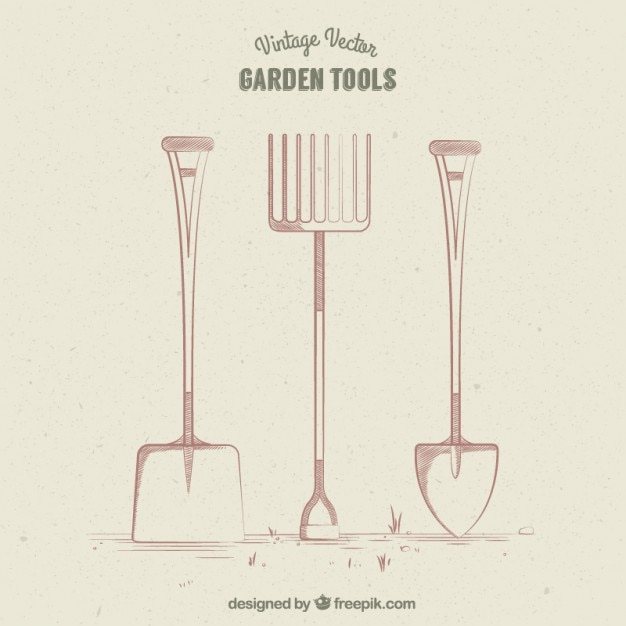 Retro Garden Tools Design Vector Free Download