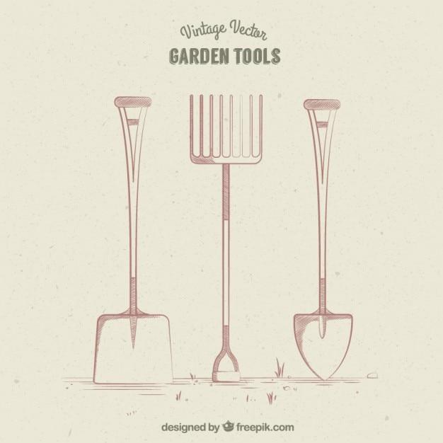 Retro garden tools design Vector Free Download