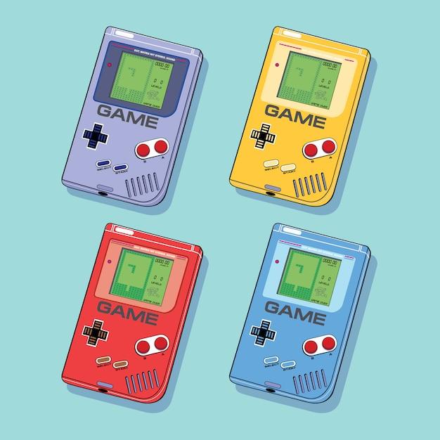Retro geek video game gadgets in diferent colors Premium Vector