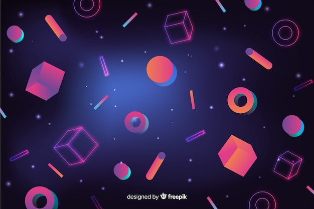 Retro geometric background with cubes Free Vector