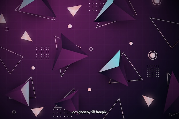 Retro geometric background with pyramids Free Vector