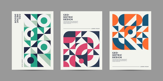 Retro geometric cover Premium Vector