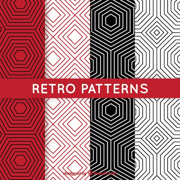 Retro geometric patterns Free Vector