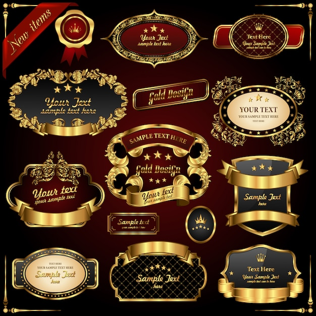Retro gold frames. premium design elements. Premium Vector