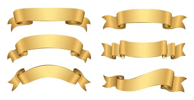 Retro golden banners Premium Vector
