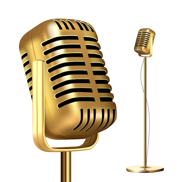 Retro golden microphone with stand Premium Vector