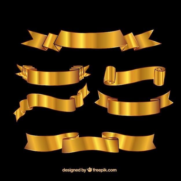 Retro golden ribbons Premium Vector