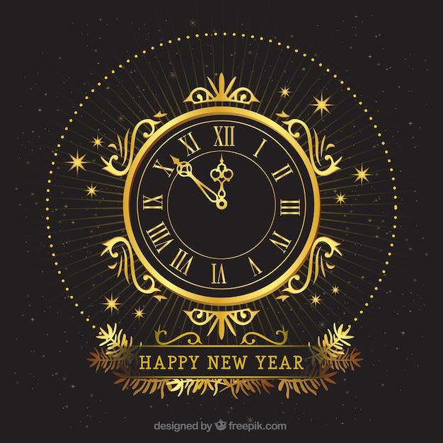 Ретро золотые часы на темном фоне Premium векторы