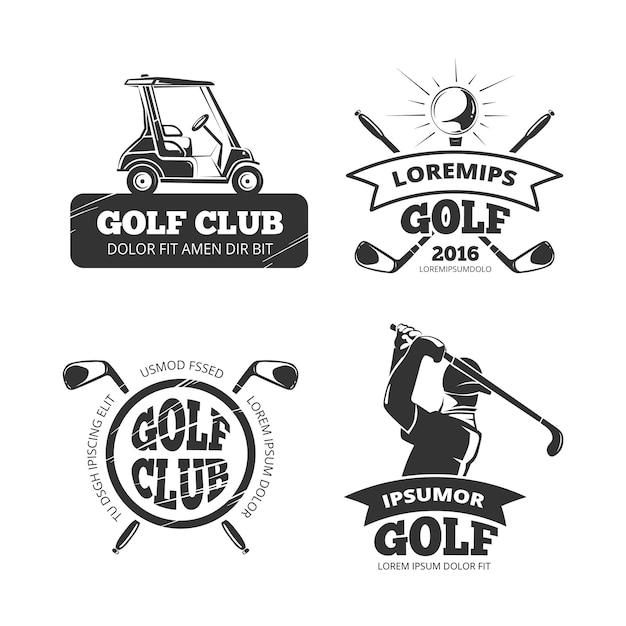 Retro golf labels, emblems, badges and logos. sport club set banners Premium Vector