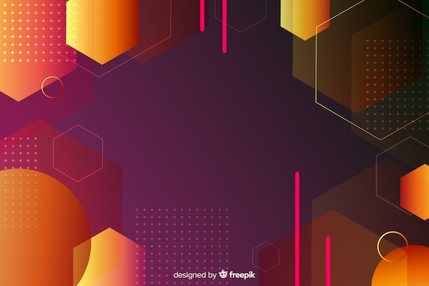 Retro gradient geometric shapes background Free Vector