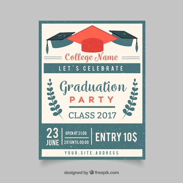 Retro graduation party invitation vector free download retro graduation party invitation free vector filmwisefo