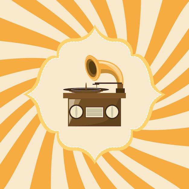 premium vector retro gramophone icon over yellow striped background https www freepik com profile preagreement getstarted 1995181