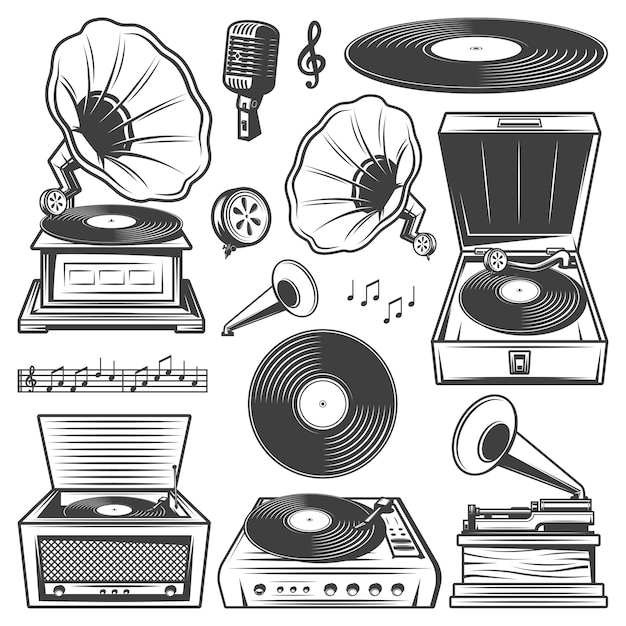 Retro gramophone icons set with turntable vinyl record player phonograph microphone music notes in vintage style isolated Free Vector