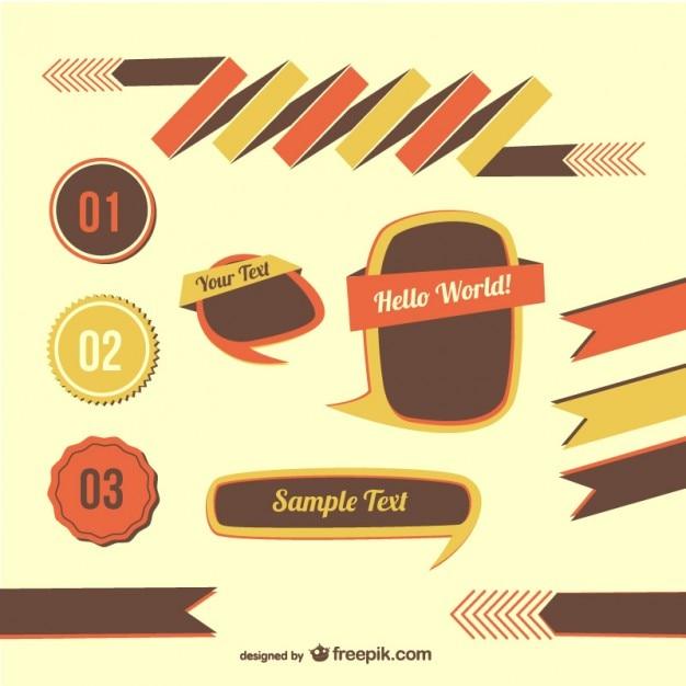 Retro graphic elements Vector | Free Download