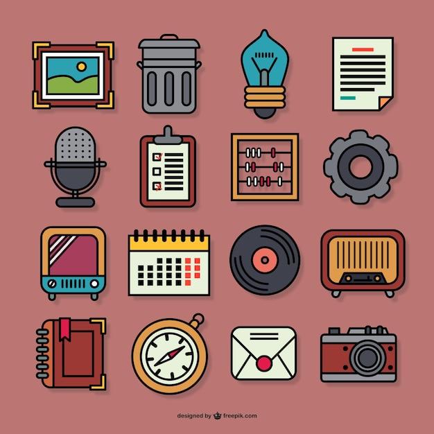 Retro graphic icons Vector | Free Download