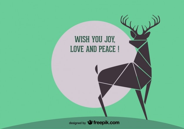Retro greeting card of abstract reindeer Free Vector